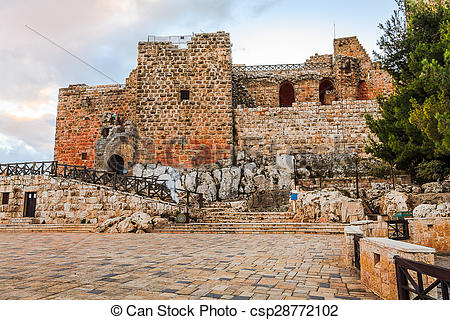 Stock Photography of Ajloun Fortress or Saladin Castle in Jordan.