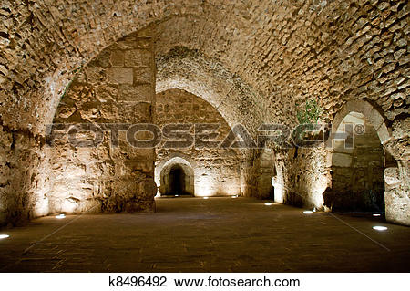 Stock Photo of Detail of the fortress, Ajloun, Jordan. Arab and.