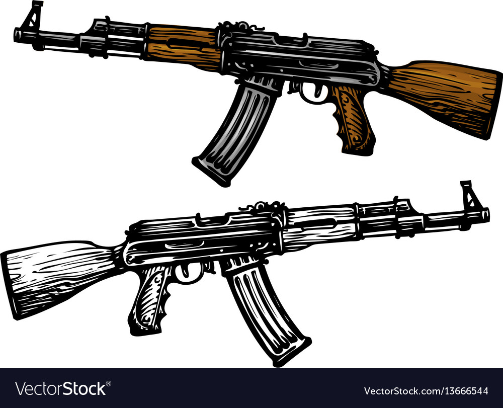 Weaponry armament symbol automatic machine ak 47.