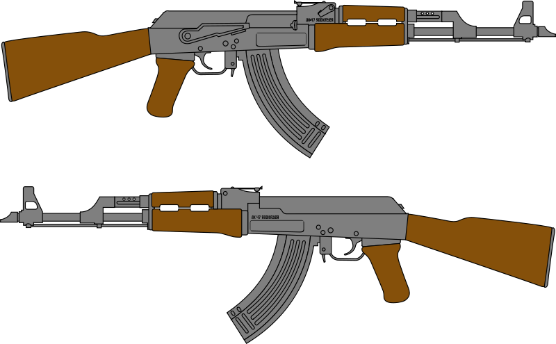 Free Clipart: AK 47 Rifle Vector Drawing.