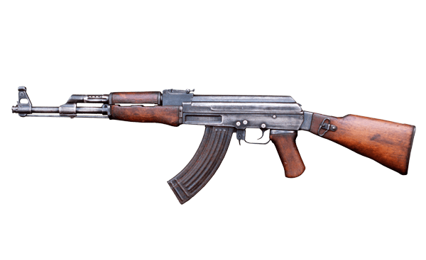 AK 47 Gun transparent background.