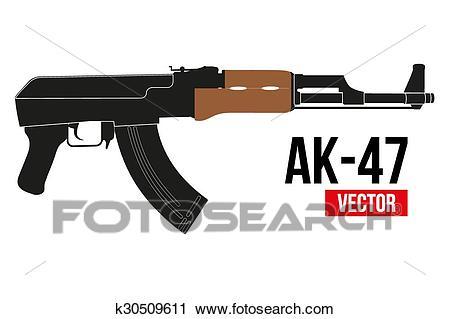 Russian rifle AK47. Clipart.