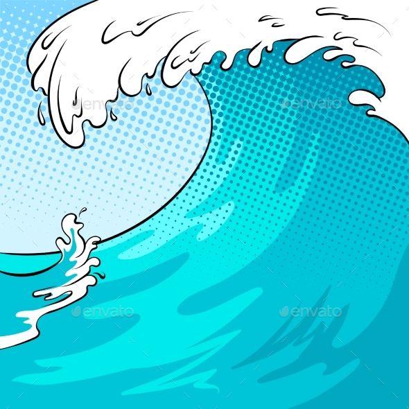 Ocean wave color bakground pop art retro vector illustration.