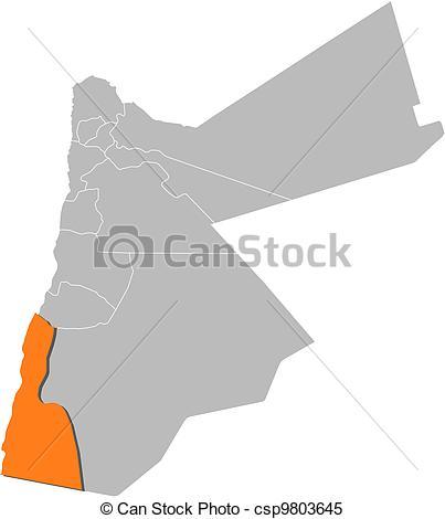 Clipart Vector of Map of Jordan, Aqaba highlighted.