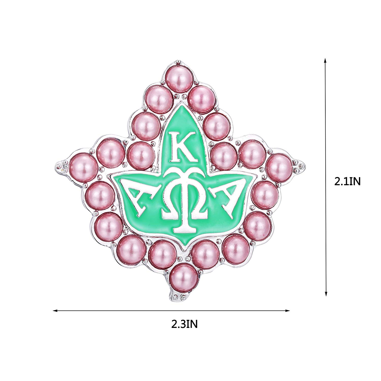 KINGSIN Vintage Pearl Crystal Brooch for Women AKA Sorority Graduation  Gifts Alpha Kappa Alpha Paraphernalia Jewelry Leaf Pendant Necklace Chain.