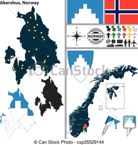 EPS Vector of Map of Akershus, Norway.