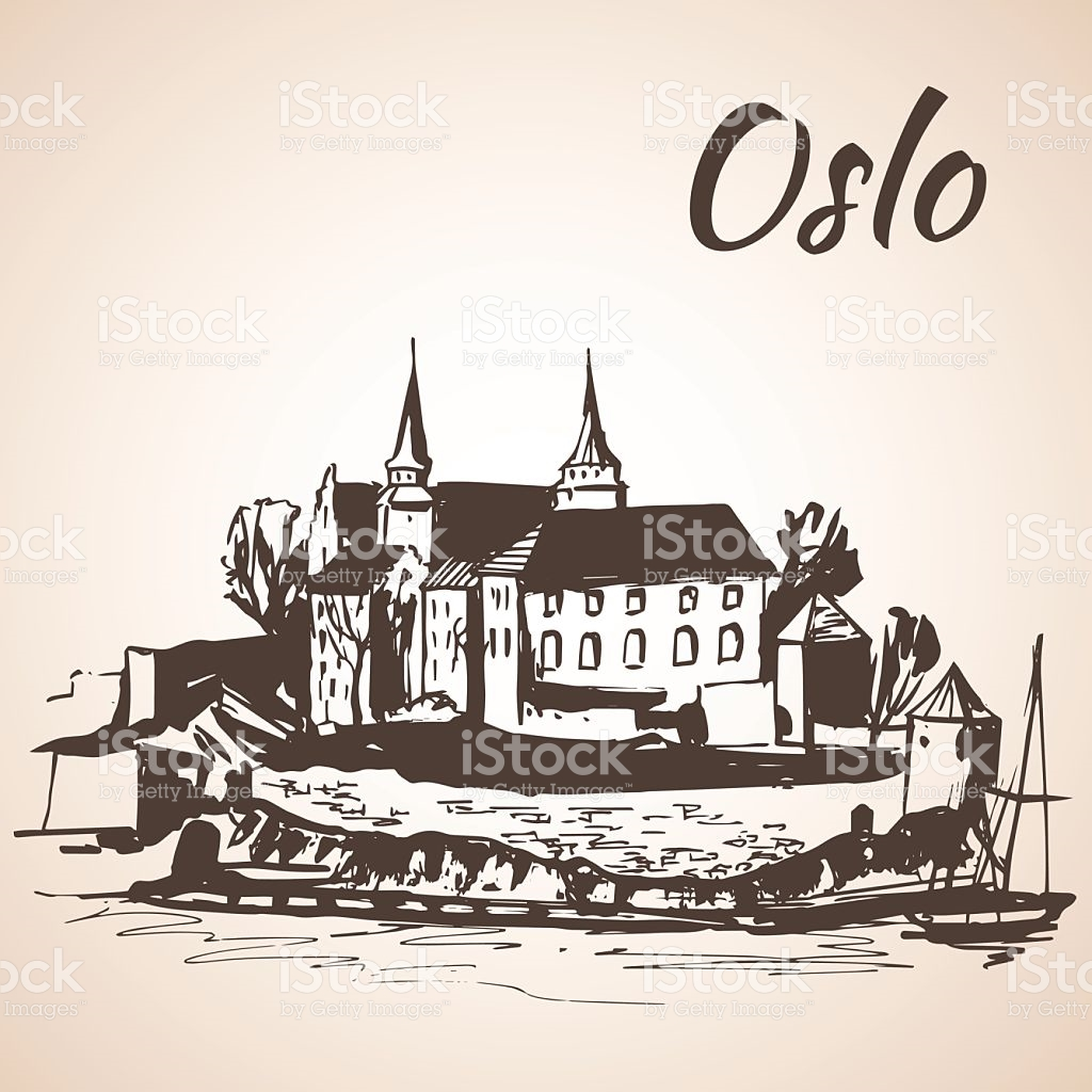 Akershus Fortress Norway Isolated On White Background stock vector.
