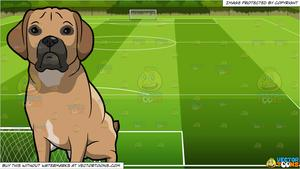 An Alerted Puggle Dog and Soccer Field Background.