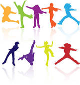 Clip Art of Healthy Young Active dance jumping people k10200416.