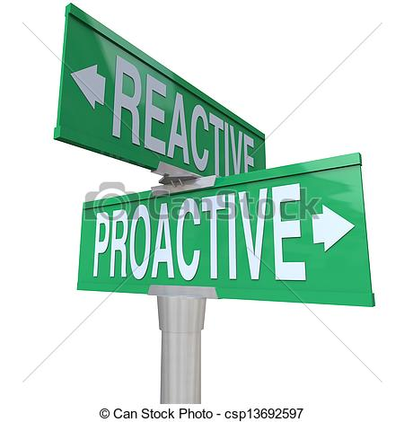 Stock Illustration of Proactive Vs Reactive Two Way Road Signs.