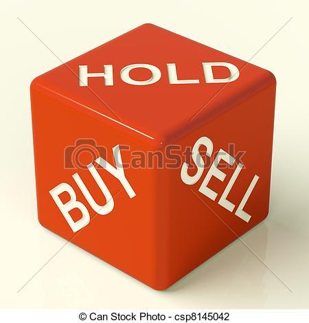 Stock Foto von verkaufen, kaufen, spielwürfel, Aktien, strategie.