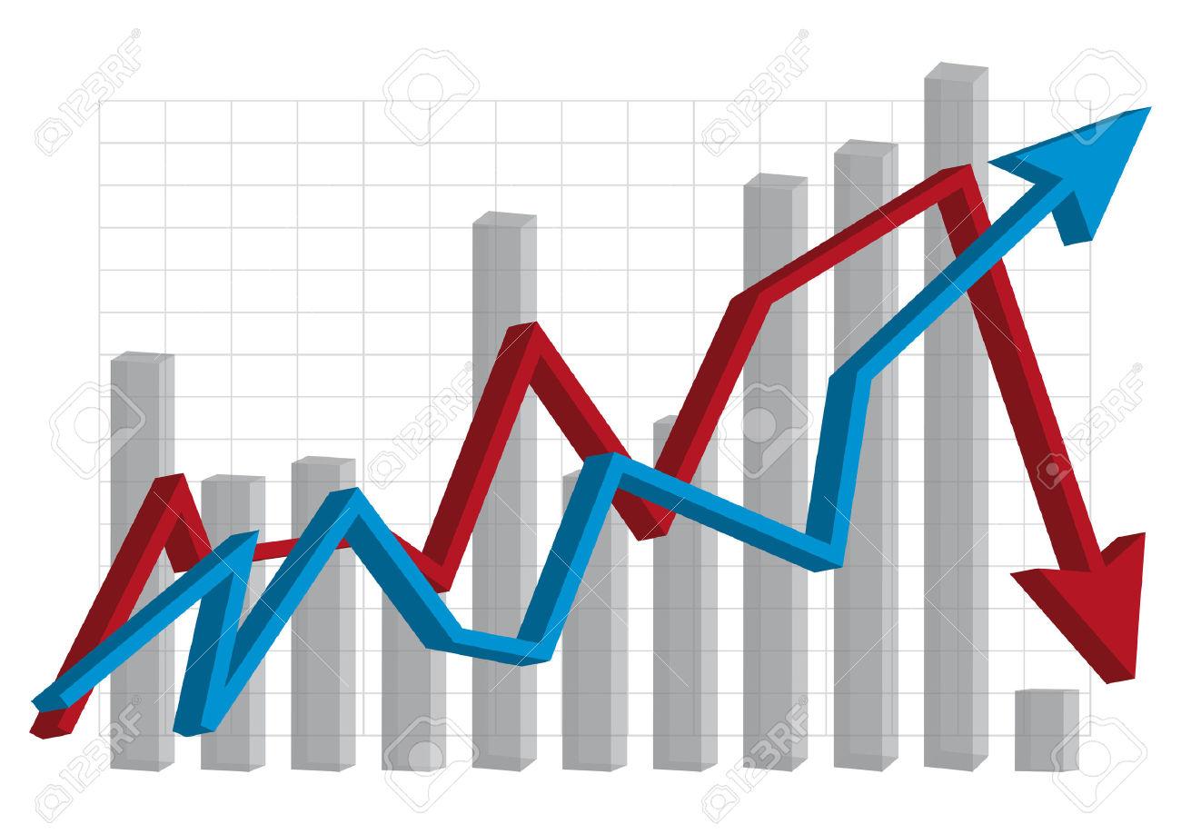 Wirtschaft Graph Krise Blue Red Lizenzfrei Nutzbare Vektorgrafiken.