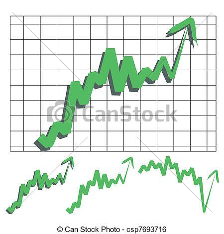 Clip Art Vector of stock index arrow.