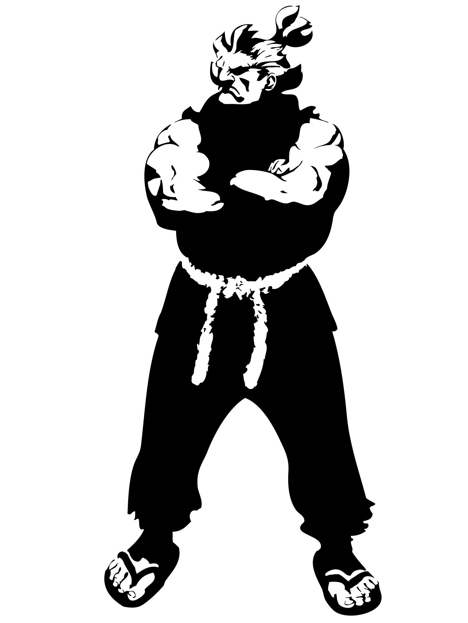 Akuma orrrrr Gouki Stencil by Branbot on DeviantArt.