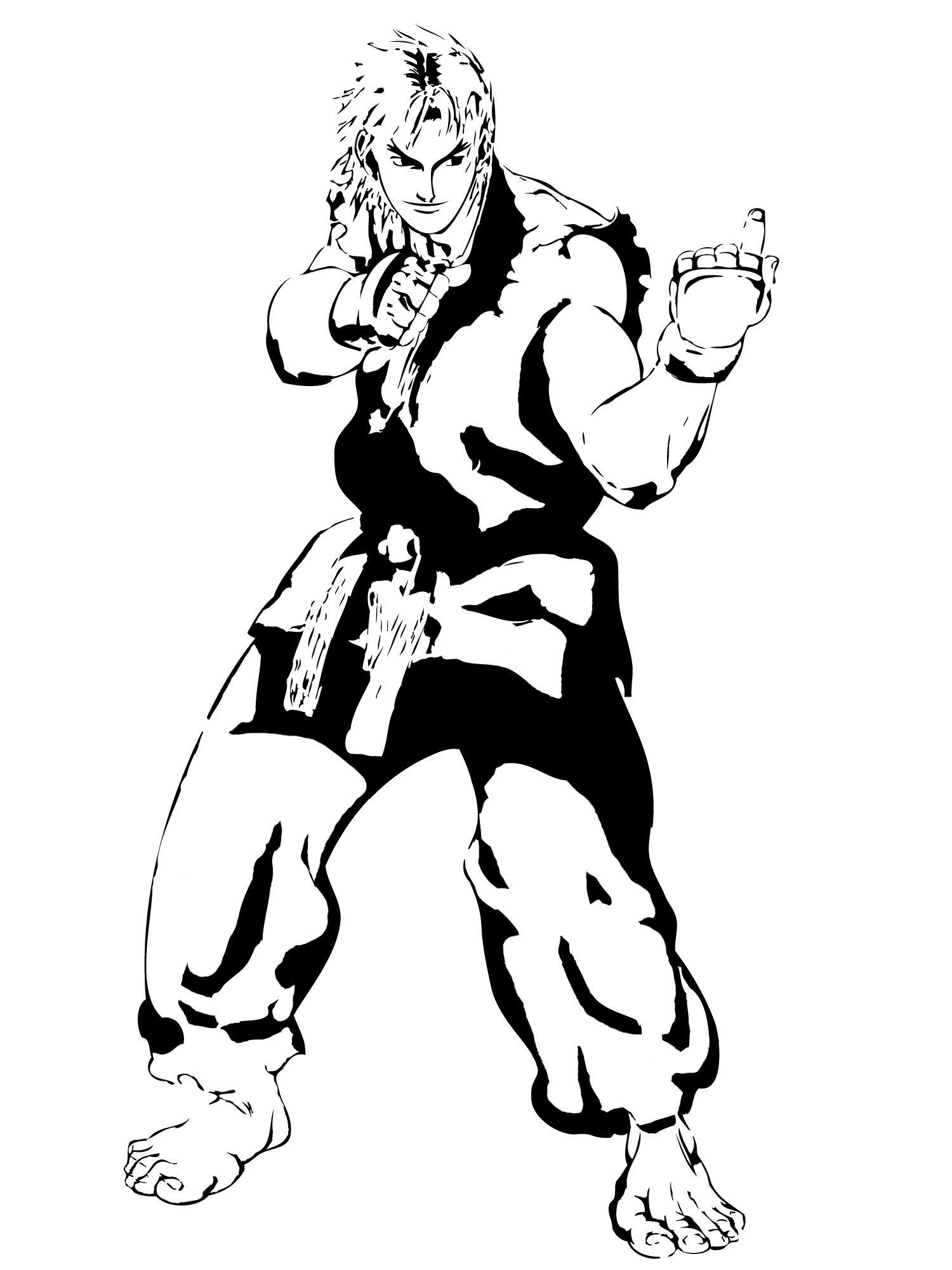 Street Fighter Ken Stencil by ~Branbot.