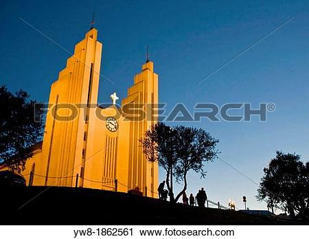 Stock Photography of Akureyri Church, Akureyri, Iceland.
