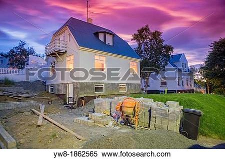 Stock Image of Home renovation of a new driveway, Akureyri.