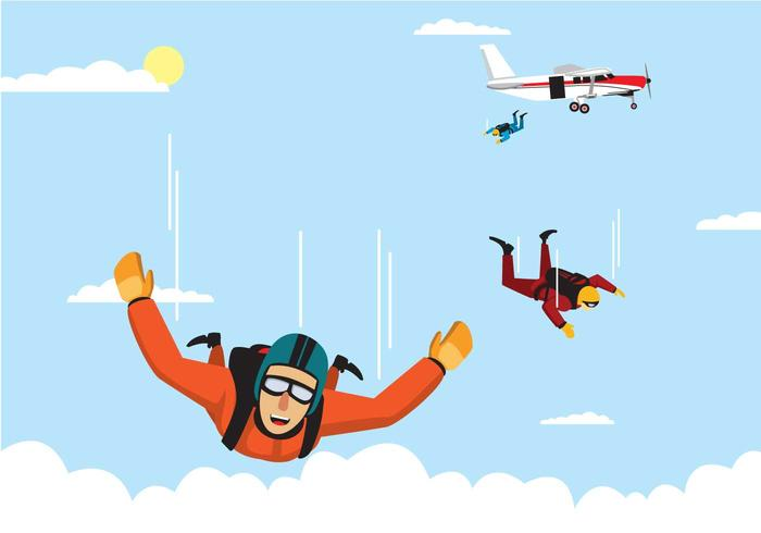 Skydiver Team Jumping From An Airplane Vector.