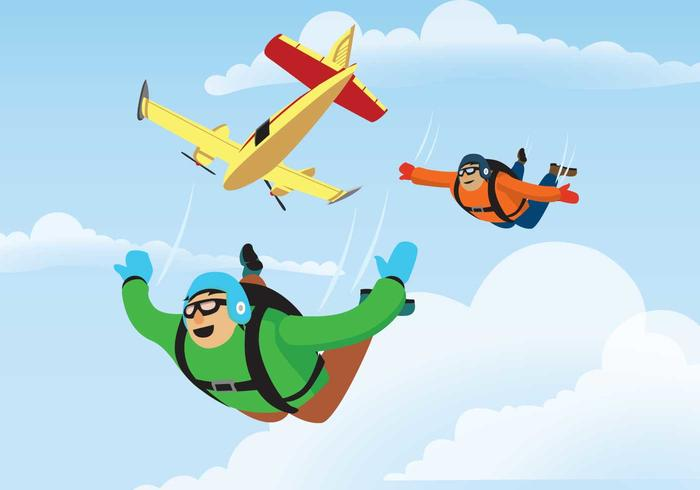 Skydiver Jumps From An Airplane Illustration.