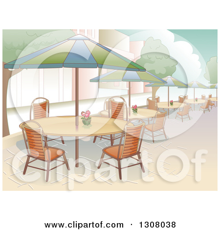 Clipart of a Restaurant Patio Area with Seating and Al Fresco.
