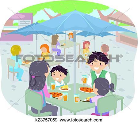 Clip Art of Stickman Family Dining Al Fresco k23757059.