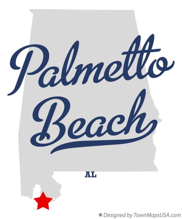 Map of Palmetto Beach, AL, Alabama.