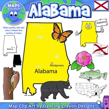 Alabama State Symbols and Map Clipart.