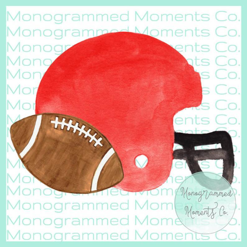 Red Football Helmet Watercolor Clipart.