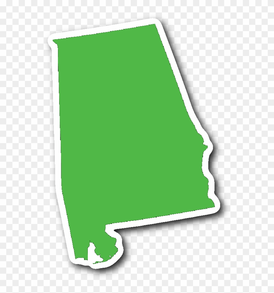 Alabama State Shape Sticker Lime Green Clipart (#1527881.