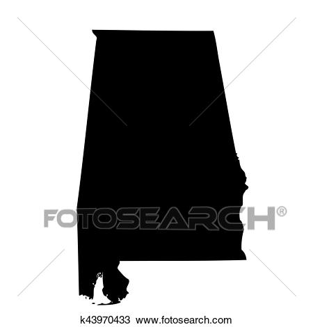 Map of the U. S. state Alabama Clipart.