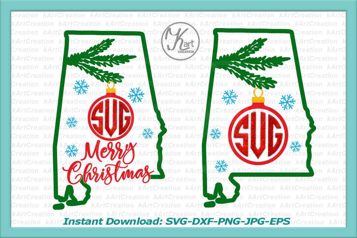 Alabama Christmas Monogram svg cutting file clipart png.