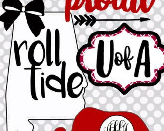 Alabama Monogram Elephant Roll Tide by SouthernCharmPaperie.