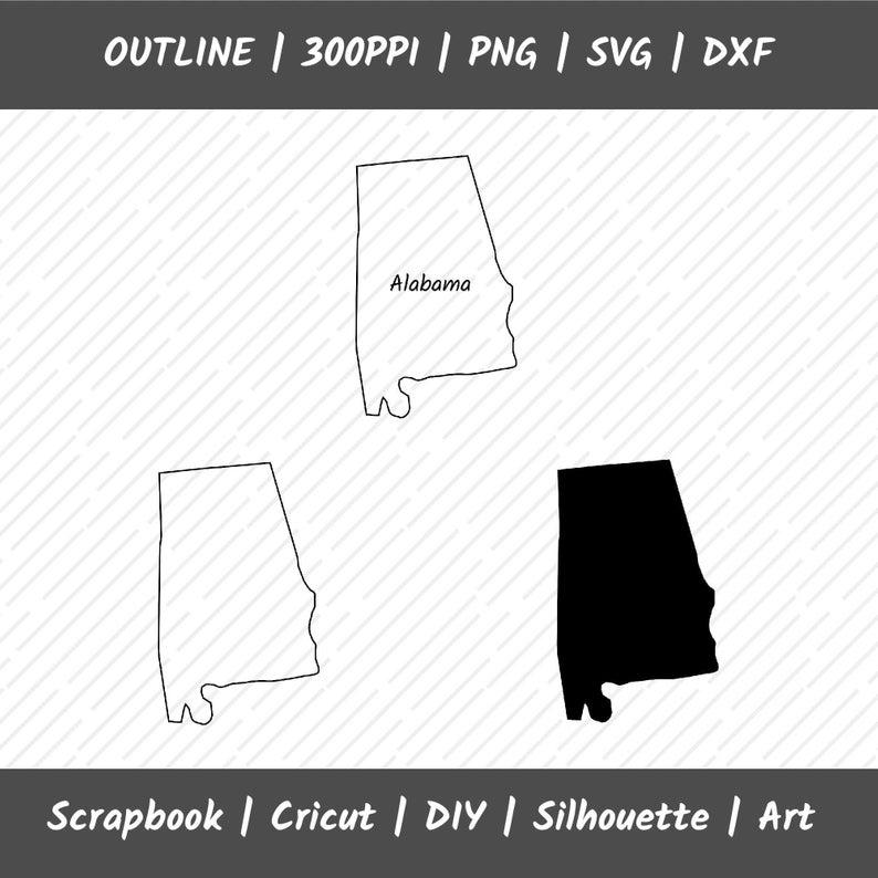 Alabama Outline PNG SVG DXF Instant Download.