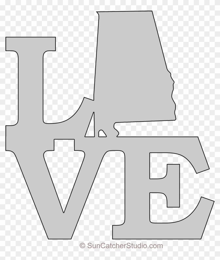 Alabama Love Map Outline Scroll Saw Pattern Shape State.