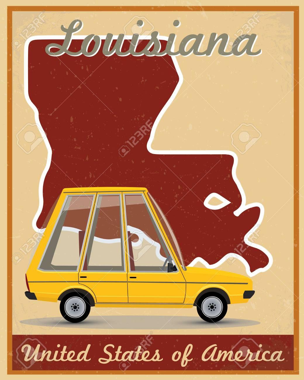 Louisiana road trip vintage poster.