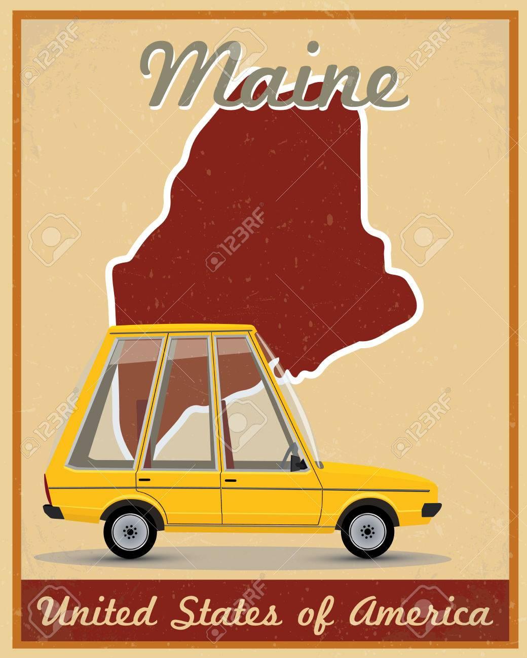 Maine road trip vintage poster.