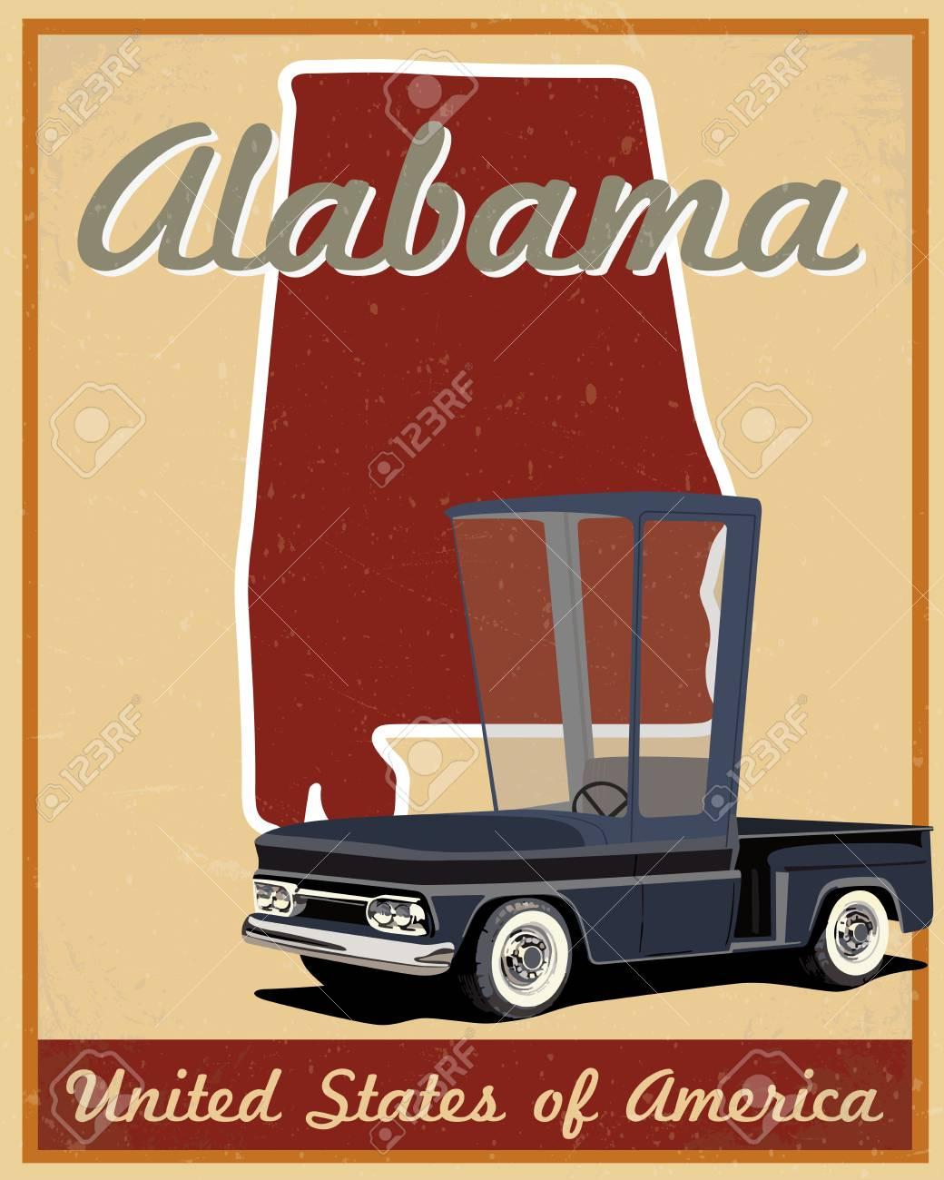 alabama road trip vintage poster.