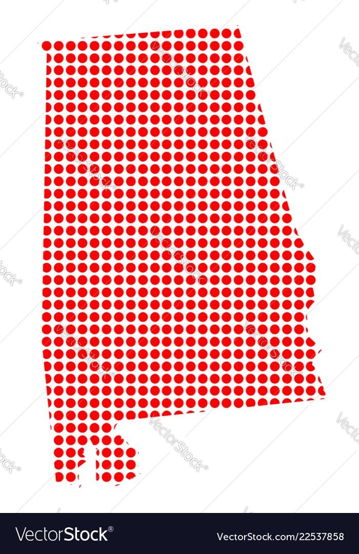 Red dot map of alabama.