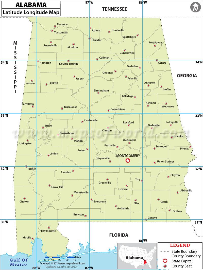 Alabama Latitude and Longitude Map.