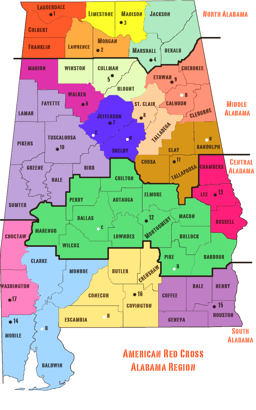 Map of Alabama with Counties.