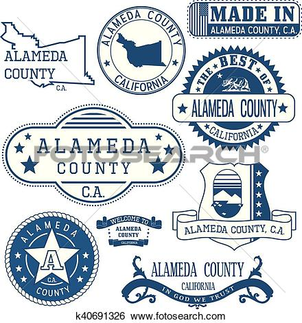 Clip Art of Alameda county, CA. Stamps and signs k40691326.