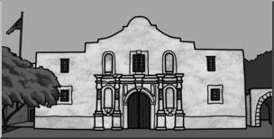 Clip Art: Alamo Grayscale I abcteach.com.
