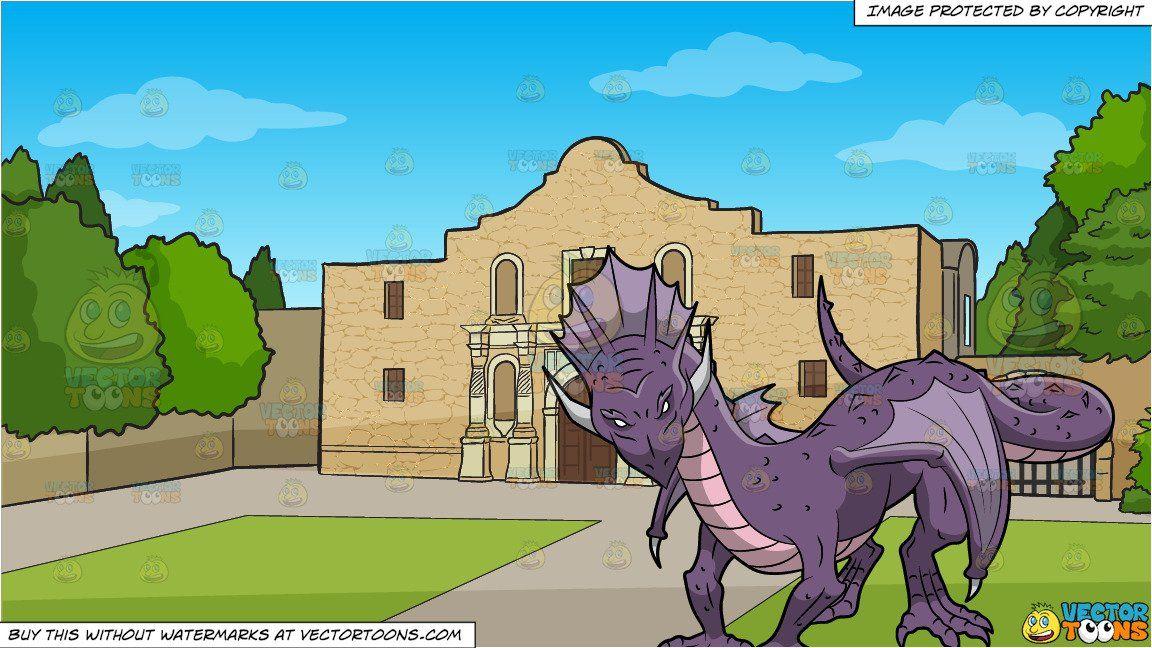 clipart #cartoon A Purple Dragon and The Alamo Background.
