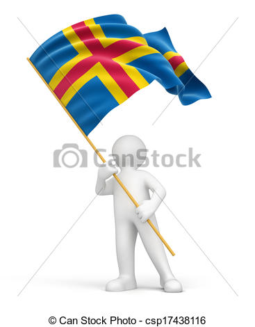 Clipart of 3D Aland Islands flag with fabric surface texture.