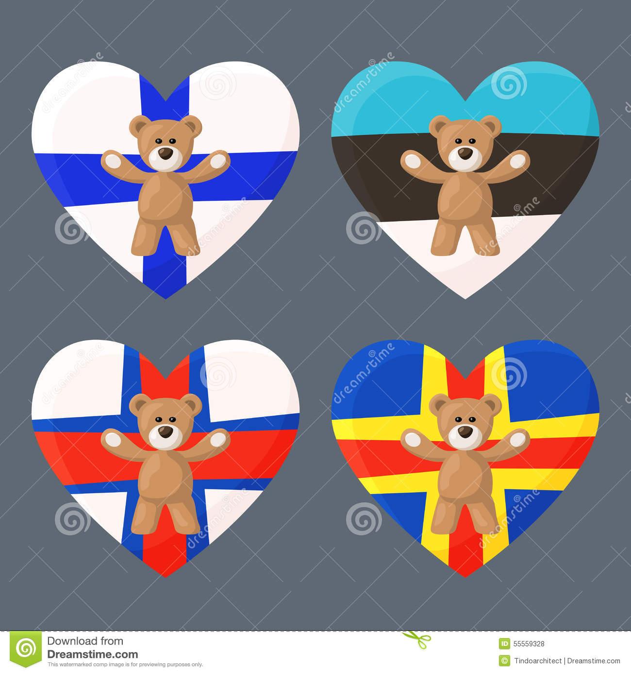 Finnish, Estonian, Faroese And Aland Teddy Bears Stock Vector.