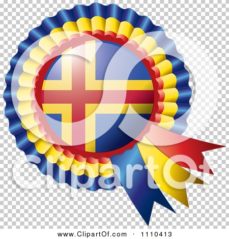 Clipart Shiny Aland Flag Rosette Bowknots Medal Award.