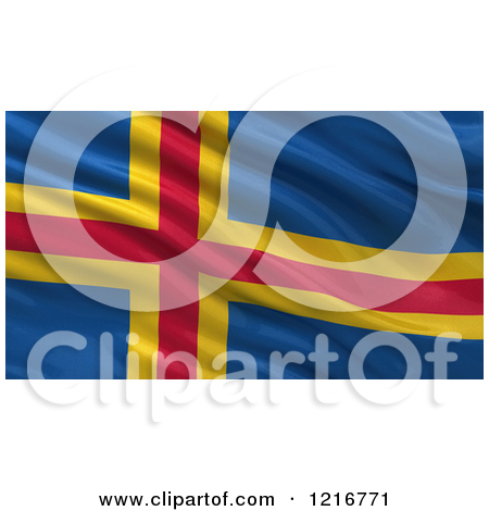 Clipart of a 3d Waving Flag of Aland with Rippled Fabric.