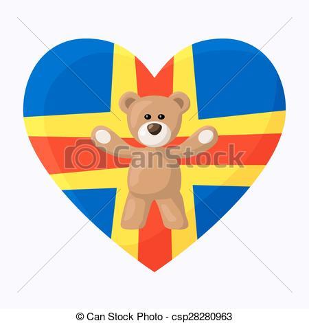 Clip Art Vector of Aland Teddy Bears.