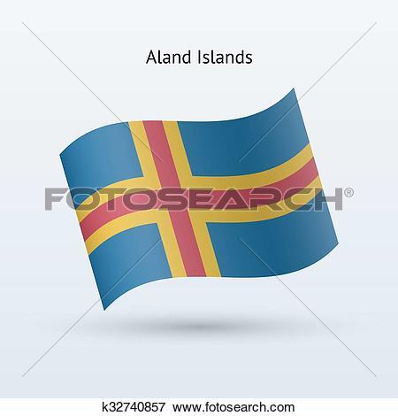 Clip Art of Aland Islands flag waving form. k32740857.