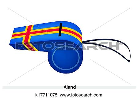Clipart of Blue Color of An Aland Flag Whistle k17711075.